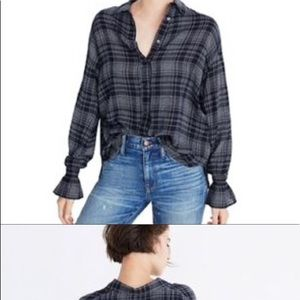 Madewell Navy Wool Plaid Button Down Shirt, Size S